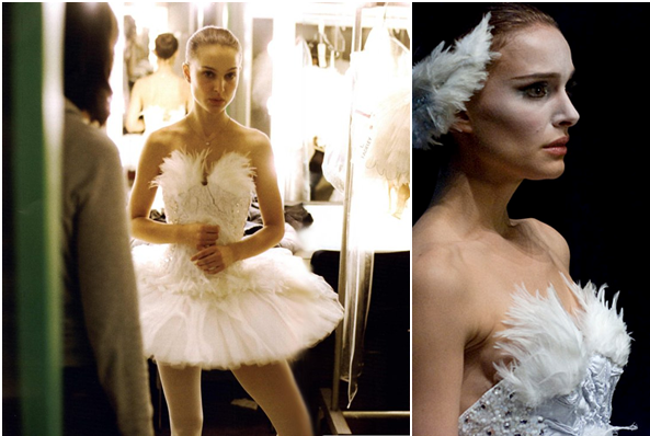 Nina as the ingénue Odette, the white swan, in a pancake tutu decorated with feathers, pearls and accents of colorful beads.