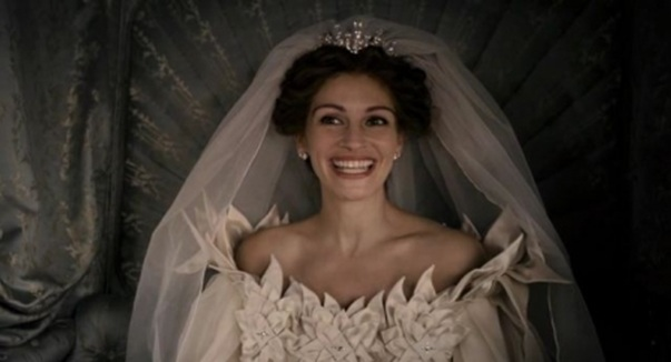 """No matter how many times I do it, I still get excited on my wedding day!"" The Queen from Mirror, Mirror quips on her wedding day, a nod to actress Julia Robert's many on screen weddings!"
