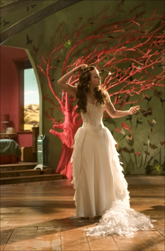 The whimsy of Penelope's gown fits right in with her unique room, the gown is composed of three pieces that when combined make a gown fitting of a fairytale.