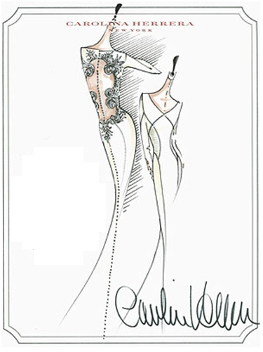 Caroline Herrera's sketch for the gown.