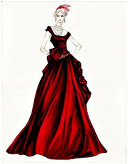 Durran's sketch of Anna's red gown she wears to Princess Betsy's ball