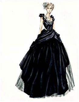 Durran's Sktech of Anna's  Black Gown