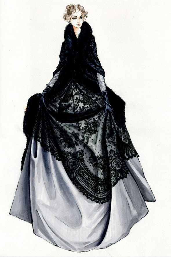 Durran's sketch of Anna's café gown