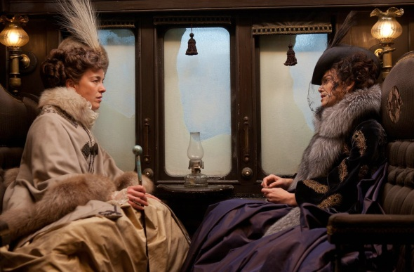 Anna meets Countess Vronskaya , Vronsky's mother and a renowned adulteress,  on the train. Notice she is clothed in ivory and similarly to young Anna, a foreshadowing of Anna's future.