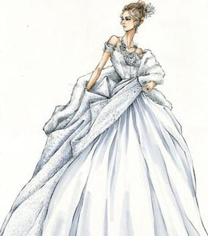Jacquline Durran's sketch of Anna's Opera Gown