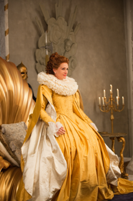 The Queen, while very regal in this Elizabethan inspired gown, does not exude a feeling of freshness and youth, instead she appears burdened by her desire for opulence.