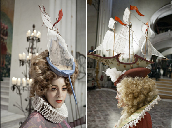 A detail shot of the amazing battleship hats created for this short scene, likely a derivative of the famous style Marie Antoinette wore.