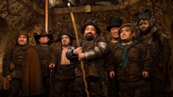 The Seven Dwarves: Half Pint, Butcher, Napoleon, Grimm, Chuckles, Grub &Wolf. Each of their costumes reflects their personality and style of thievery and are reminiscent of the classic Commedia Del'Arte costumed characters.