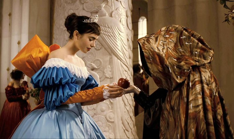 The classic fairytale is nodded to in one of the final scenes of the film, the former opulence of the Queen is all gone, and rather we see her in her true form for the first time.