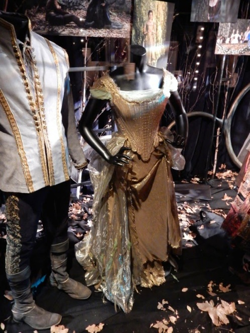 Cinderella's Gold gown on display. Notice the difference in texture and weights in the fabrics as well as how the fabric catches the light, all to lend the dress' true nature back to the willow tree.