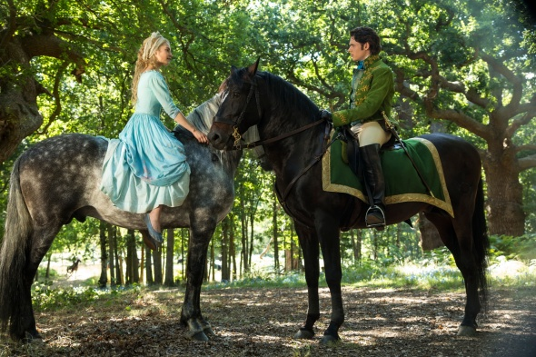 Upon her first meeting with the Prince, Cinderella stands in contrast with the forest while still being the natural pallet, making her seem comfortable already to the Prince. The Prince by contrast in already in the environment but adds a connection to Cinderella by always wearing a pop of blue.