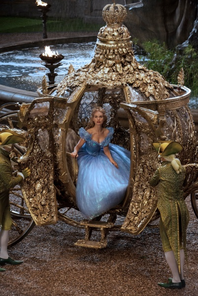 Cinderella arrives to the Ball in her Gilded Gold Pumpkin Carriage assisted by the Lizards turned Footmen.