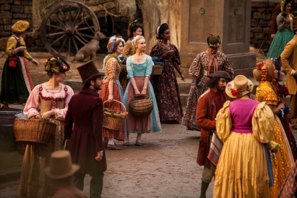The Colorful Marketplace shows a variety of bright colors and historical silhouettes present throughout the film.