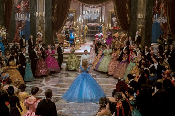 Cinderella's multifaceted blue ball gown is a standout in the sea of brightly colored prints on others at the ball.