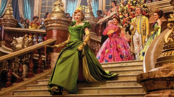 Lady Tremaine's dress takes after Audrey Hepburn's Givenchy gown from Sabrina, where her daughters look more like the young Princess Anne from Hepburn's classic Roman Holiday. Albeit all three gowns are in garish colors and over embellished.