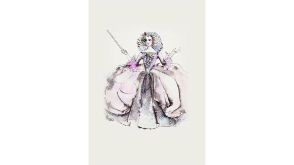 Powell's Sketch for the Marie Antoinette inspired gown for the Fairy Godmother.